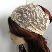 Wide Stretch Lace Headband Nude Beige Flowers Head Wrap Women's Hairband Traditional Head Covering