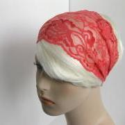 Wide Stretch Lace Headband Coral Pink Flowers Fancy Head Wrap Women's Hairband Traditional Head Covering