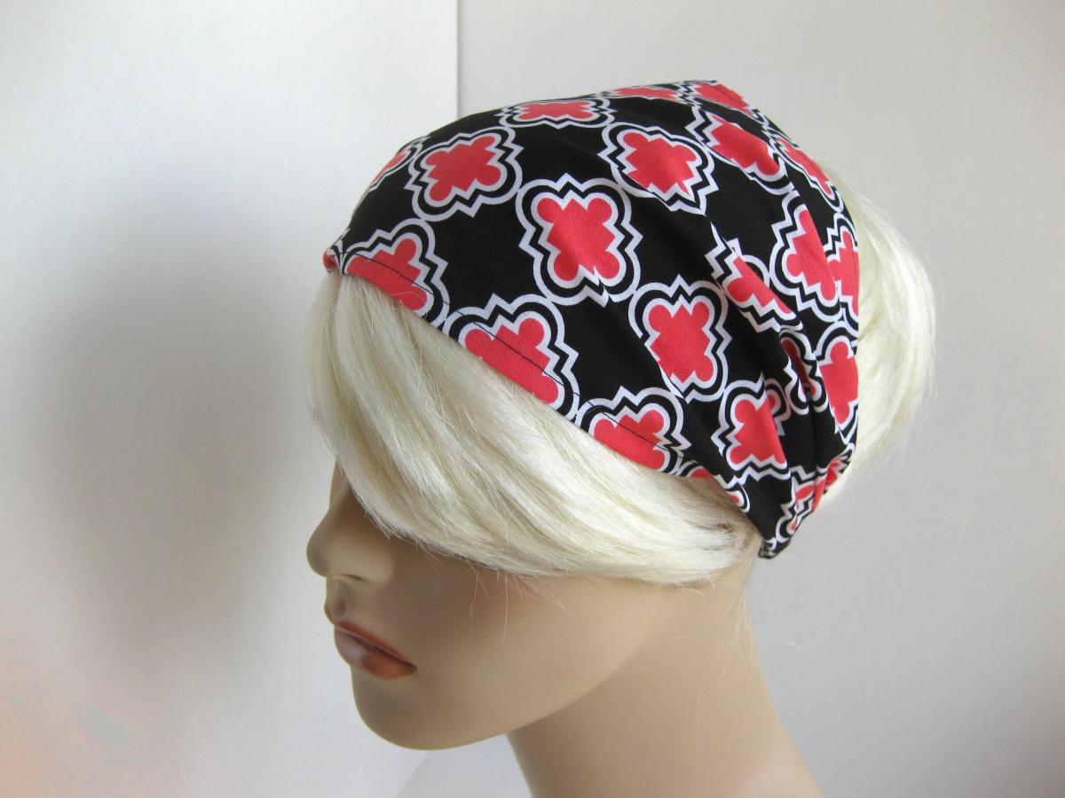 Headband Women's Black Coral Pink White Geometric Head Wrap Puzzle Shapes Geo Bandana