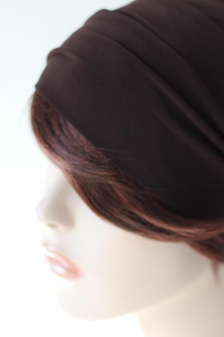 Dark Brown Turban Head Wrap, Mahogany Headband, Wide Headband, Yoga Headband, Workout Headband, Brown Headband