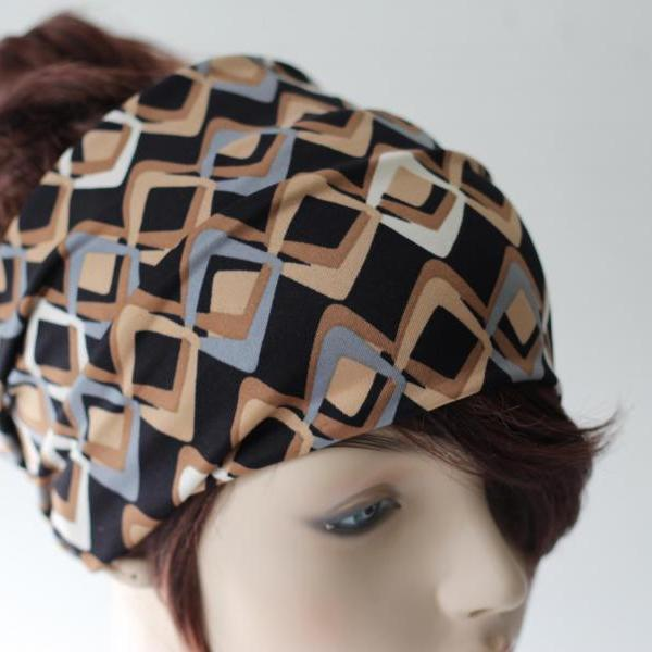 Black Beige Cream Grey Headband, Turban Head Wrap, Wide Hair Band, Women's Yoga Wrap, Wide Headband, Yoga Headband