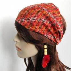 Island Head Wrap Mediterranean Design Headband Women's Dreadband Gypsy Hippie Bandana Brown Red Burnt Orange Cotton Print