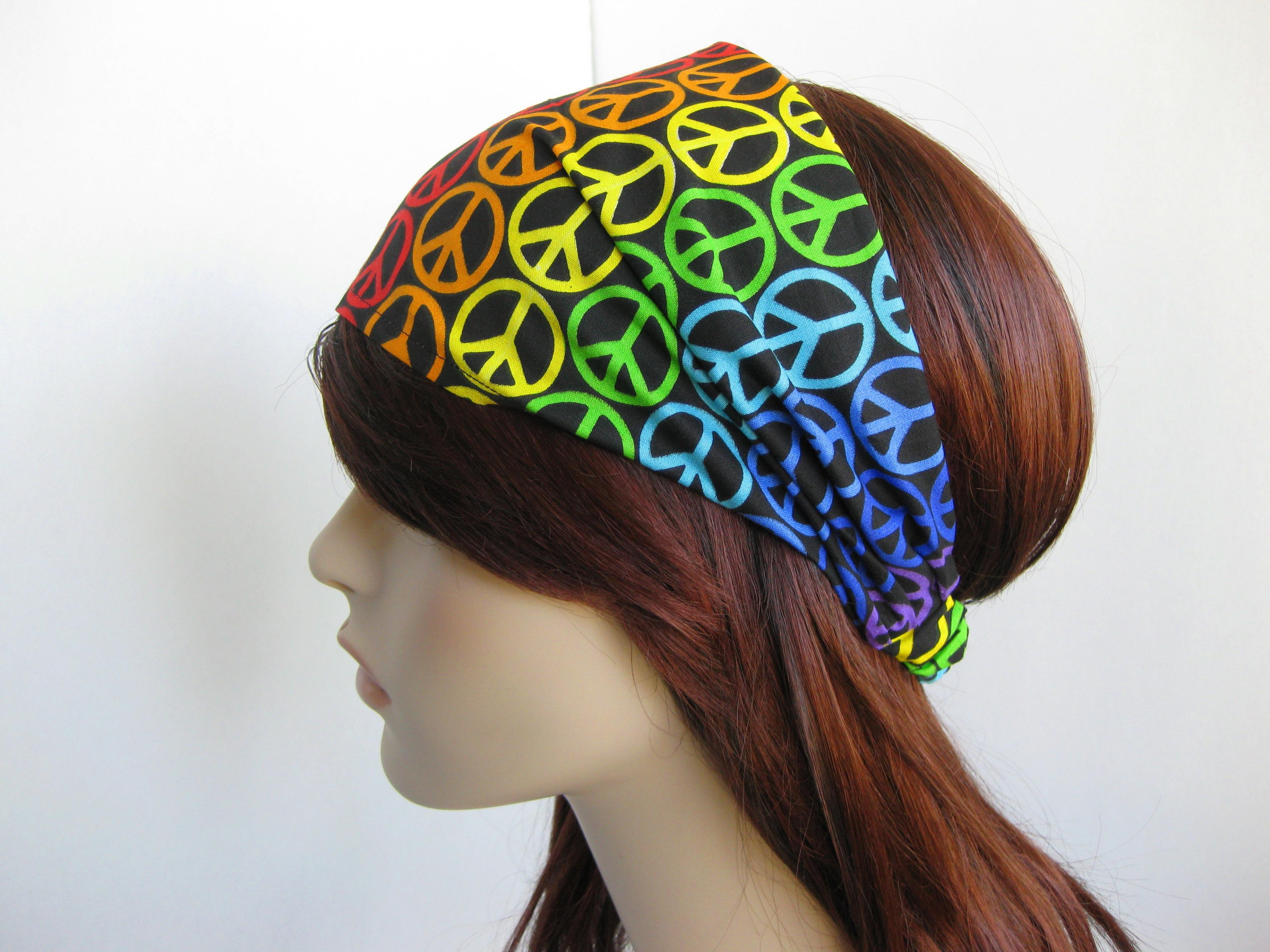 Rainbow Peace Sign Headband Womens Hippie Head Wrap Colorful Cotton